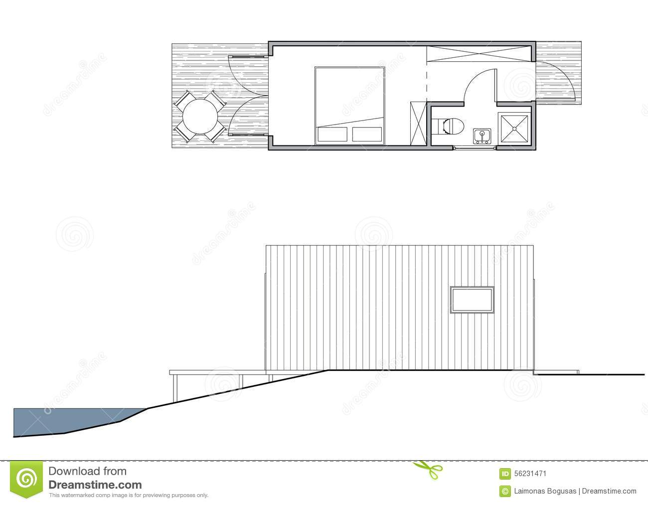 project of the small bungalow stock illustration image 56231471