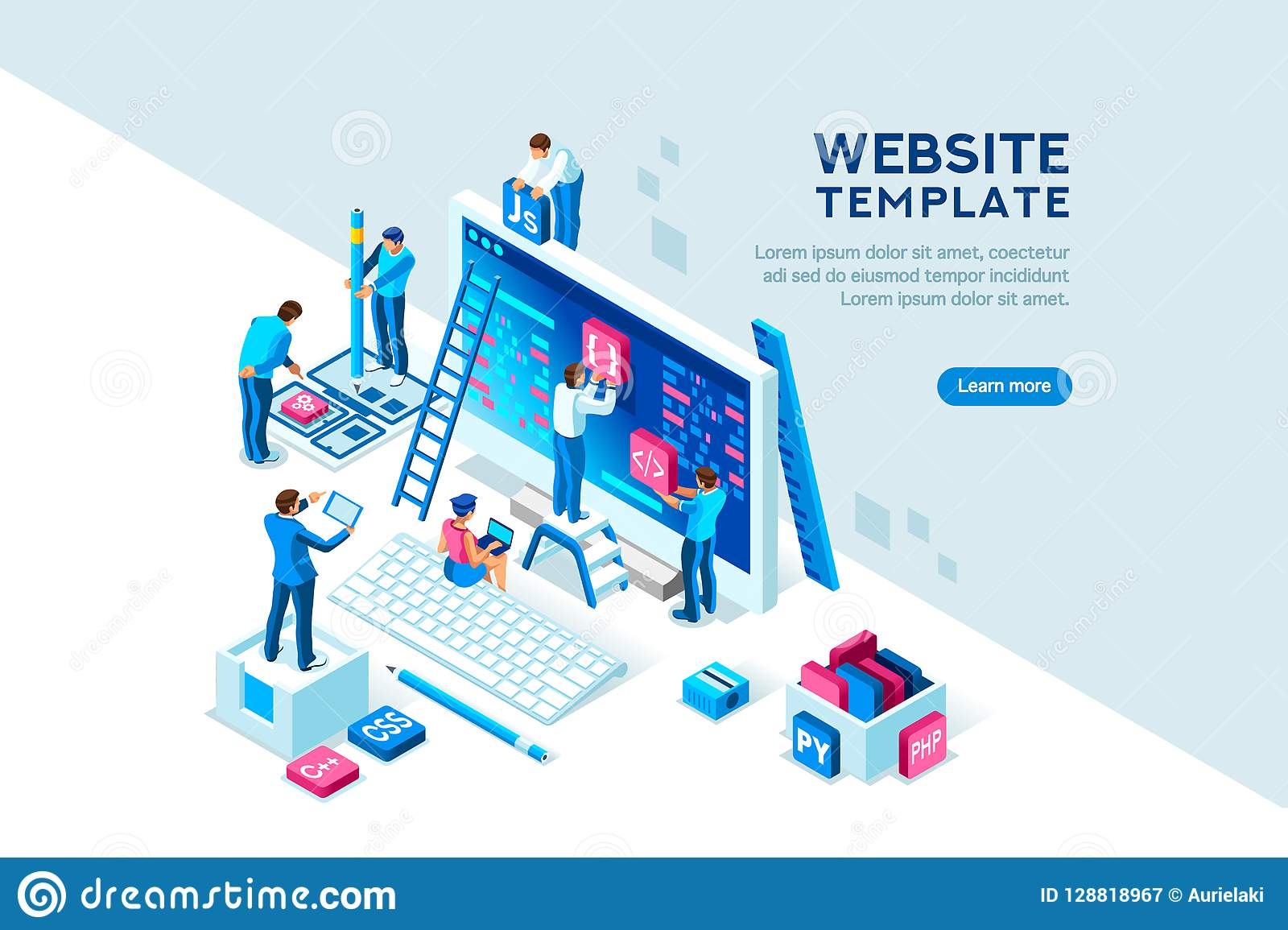 Project Team Office Engineers Characters Web Template