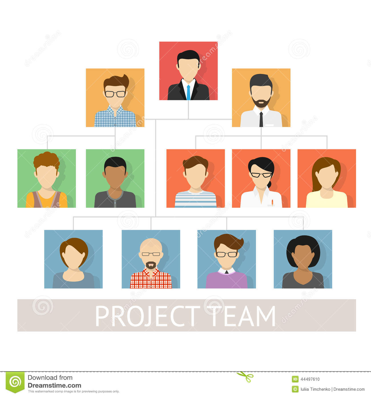 Project Team Organization Stock Vector - Image: 44497610
