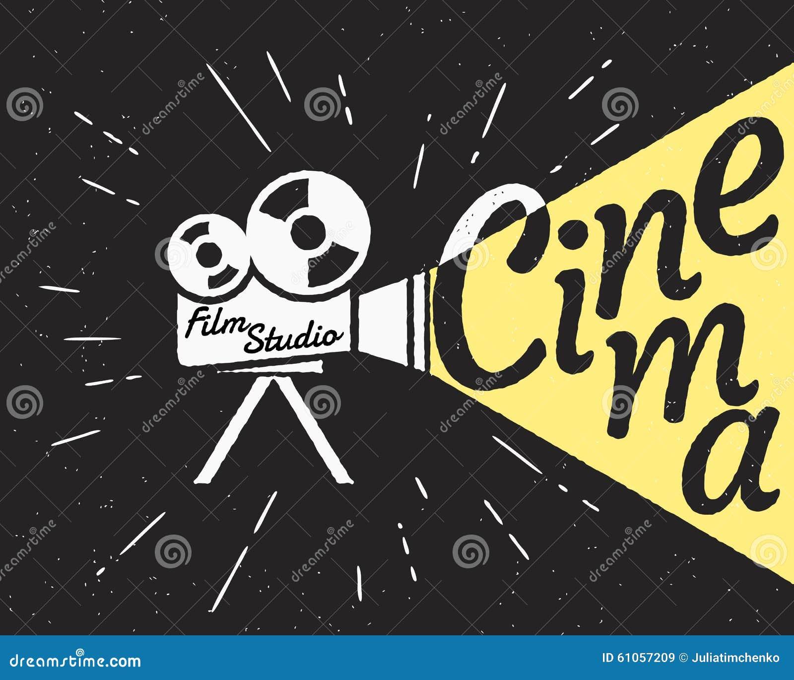 projecteur de cin ma avec le hippie de lumi re jaune illustration de vecteur image 61057209. Black Bedroom Furniture Sets. Home Design Ideas