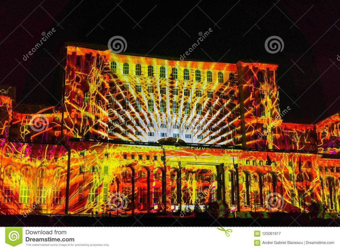 Projection during IMAPP 2017 Video Mapping competition, Bucharest