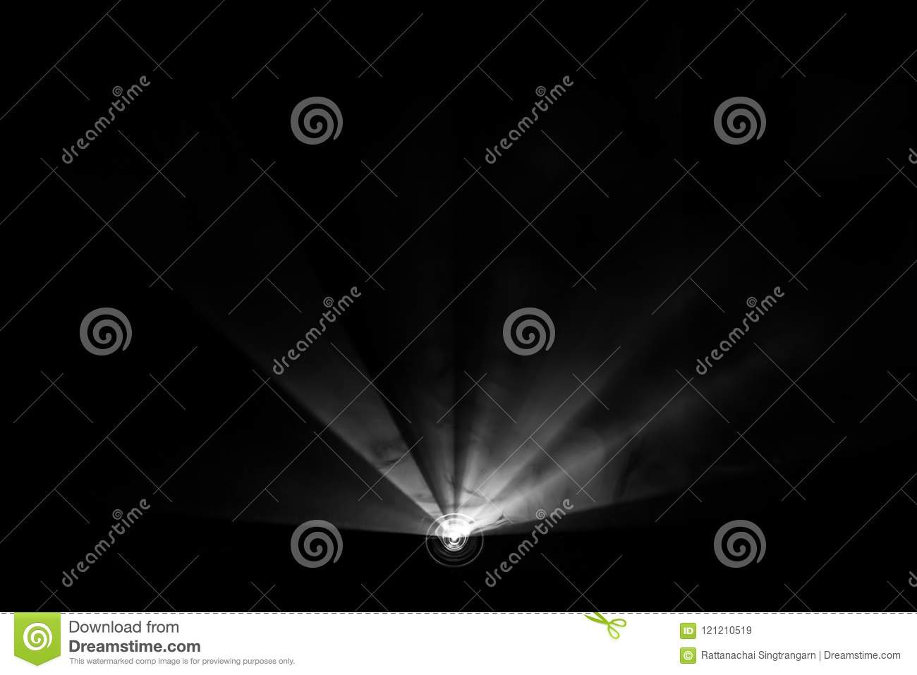Projector beautiful black and white lighting . wide lcd lens equipment for show presentation at night . smoke abstract background