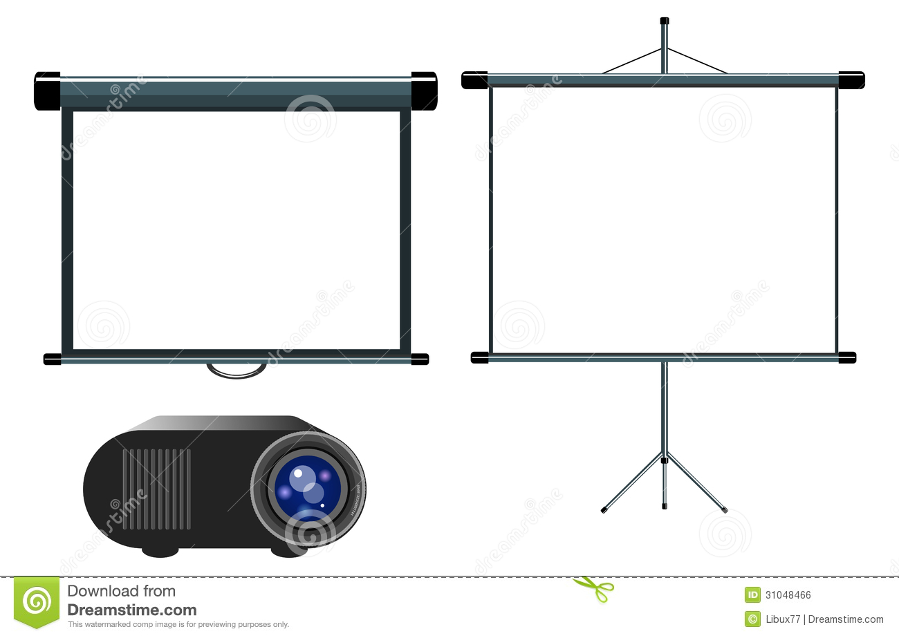 Diagram Of Projection Screen Electrical Wiring Projector And Blank Stock Vector Illustration H13