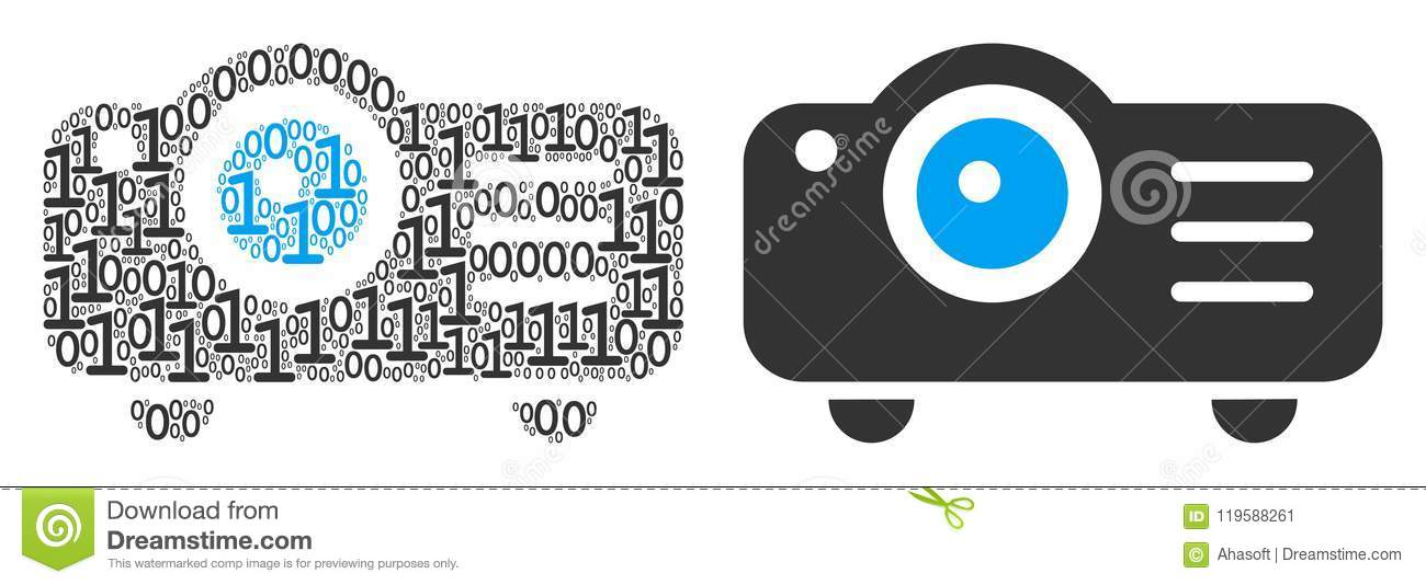 Projector Collage Of Binary Digits Stock Vector Illustration Of
