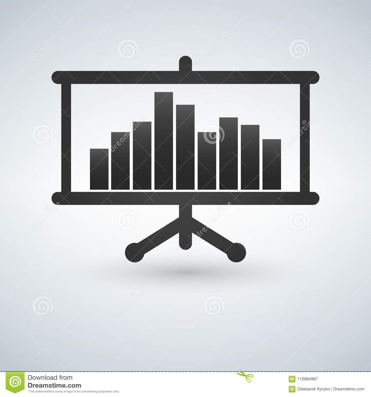 Projector Screen With Graph Chart Icon. Illustration. Stock ...