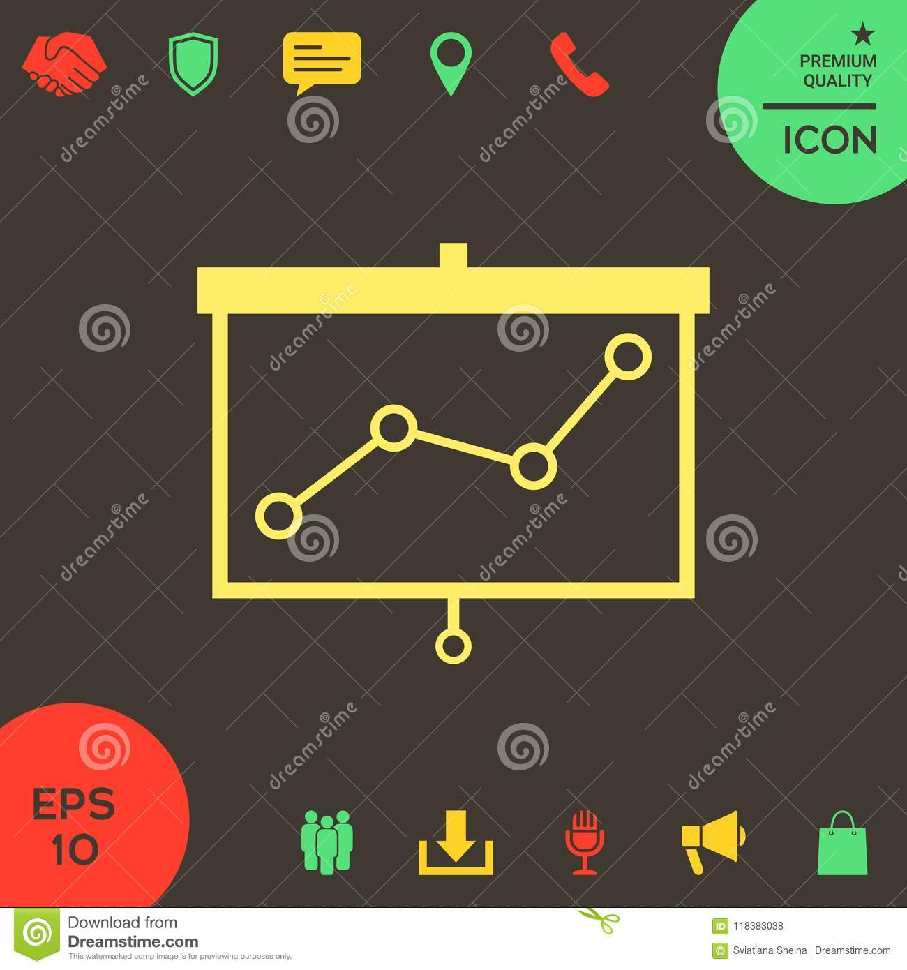 Projector Screen With Graph Stock Vector Illustration Of Display