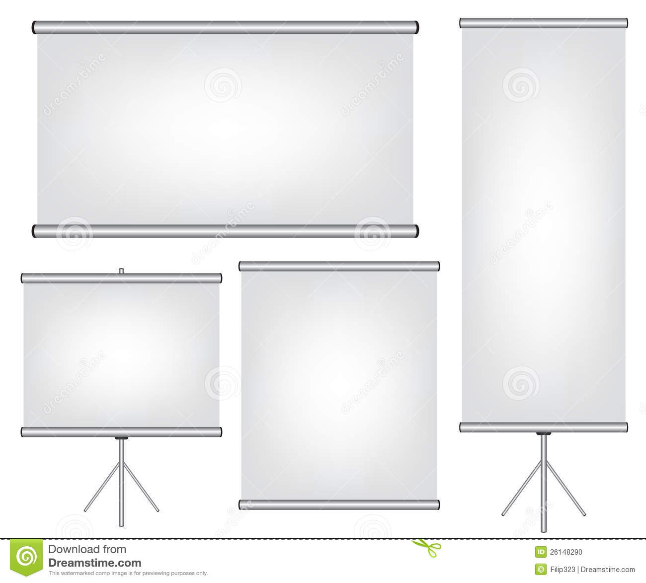 Projector Screen and Roll Up Banner Illustration Stock Vector ...