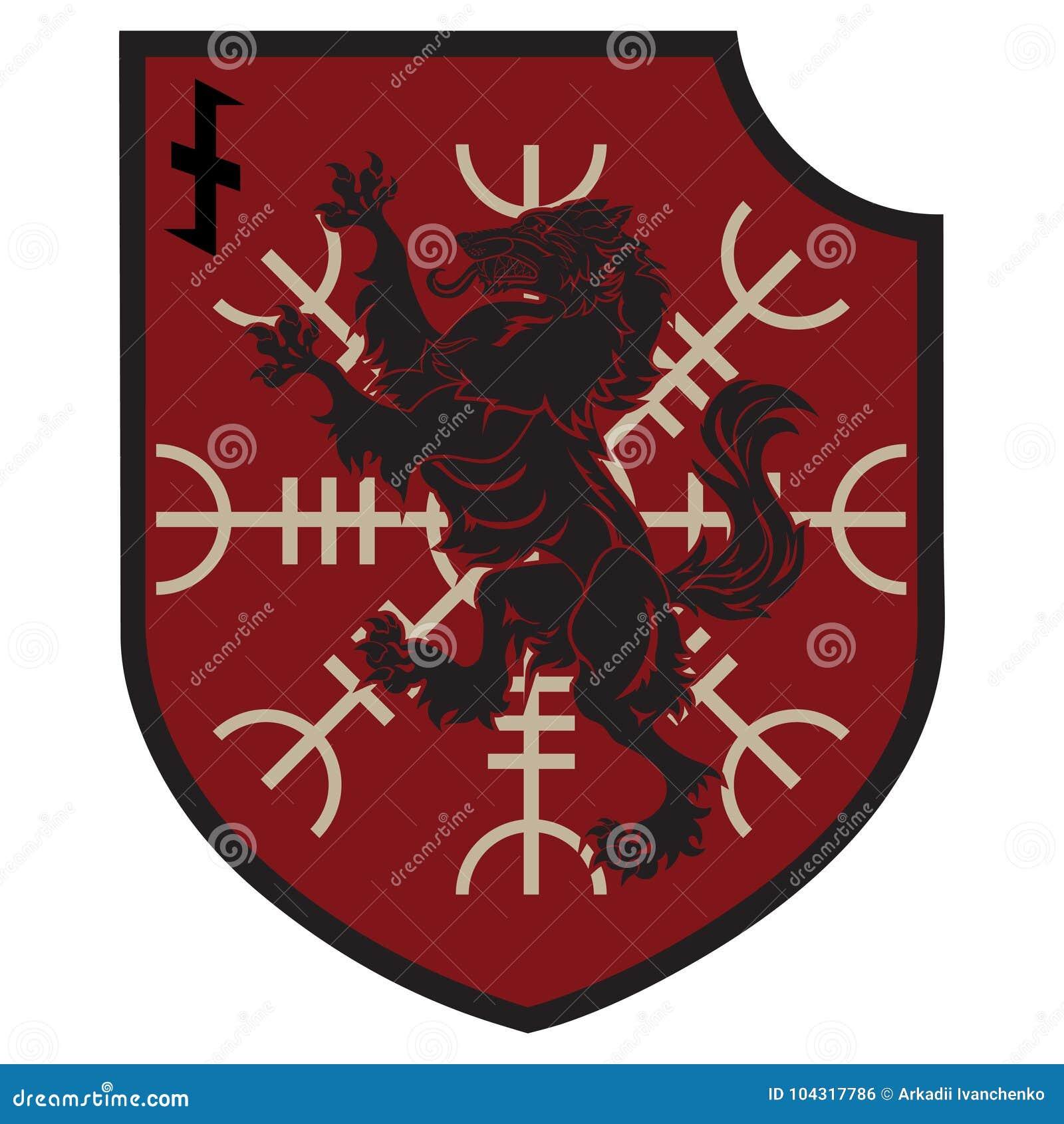 Projekt łata Heraldyczna osłona z wilkołakiem, ster respekt i rune Wolfsangel,