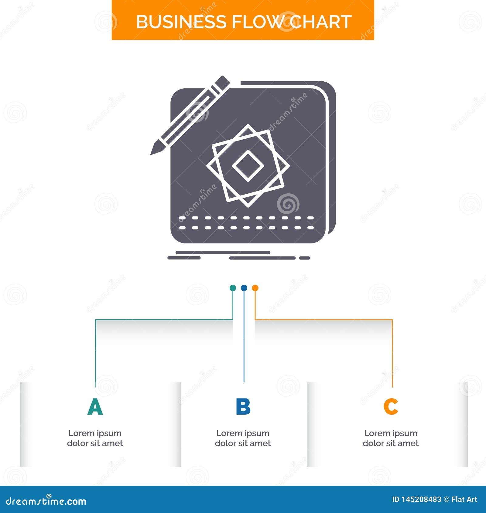 Projekt, App, logo, zastosowanie, projekt Spływowej mapy Biznesowy projekt z 3 krokami Glif ikona Dla prezentacji t?a szablonu