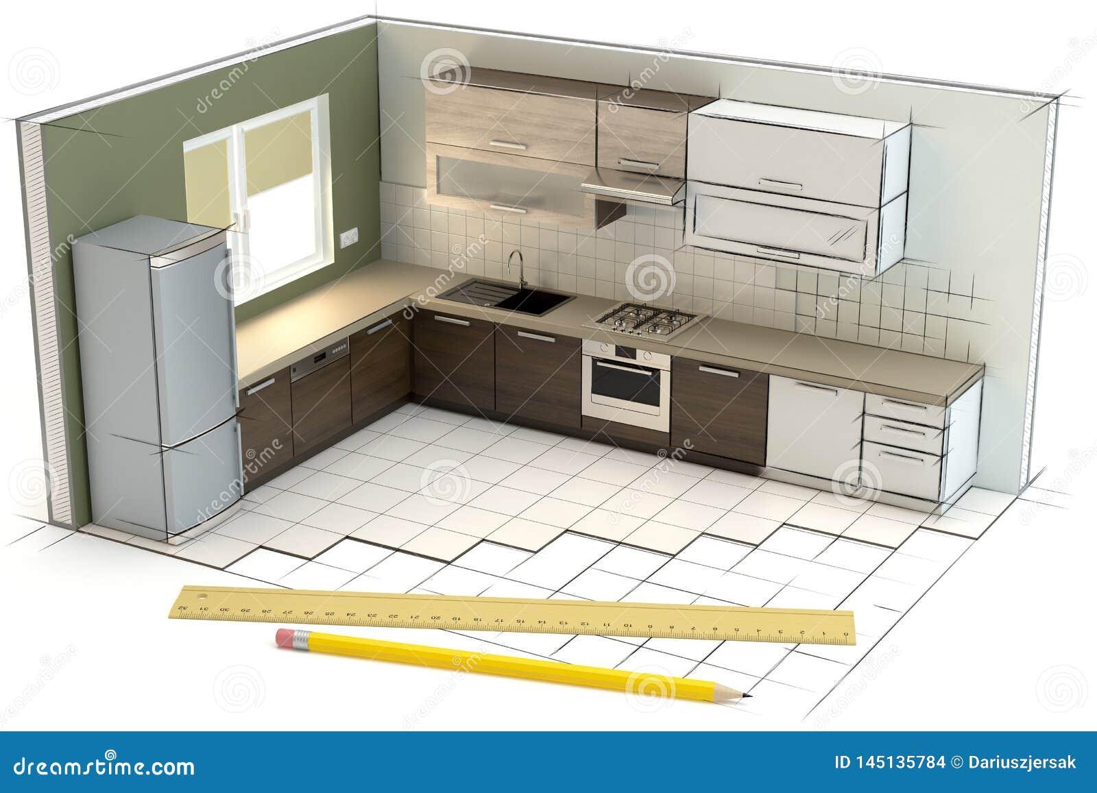 Projekt av köket, illustration 3D