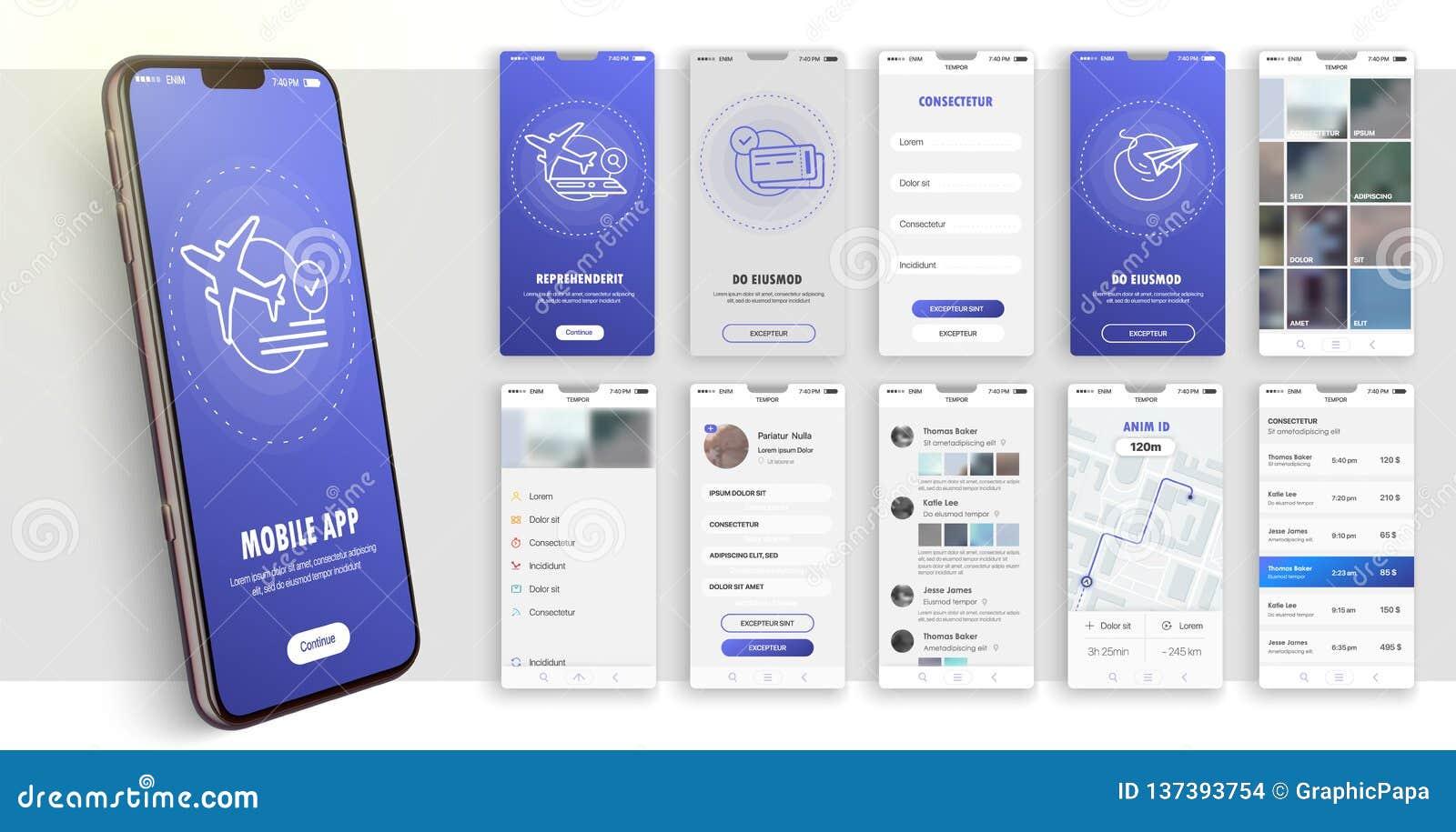 Projekt mobilny zastosowanie, UI, UX Set GUI ekrany z nazwy użytkownika i hasła wkładem