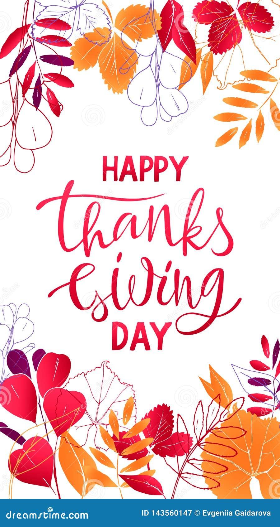 Projekt ulotki dziękczynienia Szczęśliwy literowanie z liśćmi