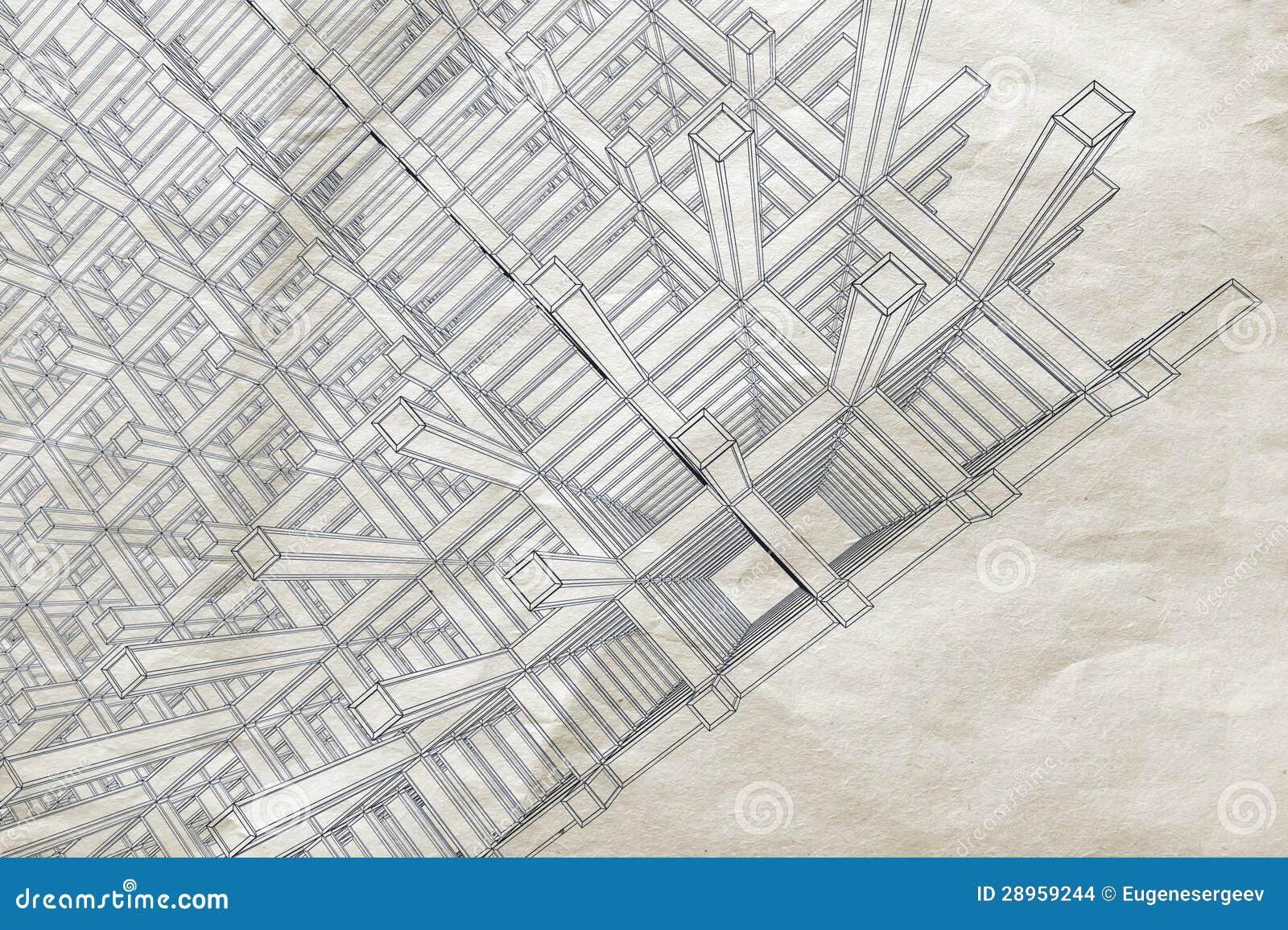 Projekt z abstrakcjonistyczną perspektywą na starym papierze