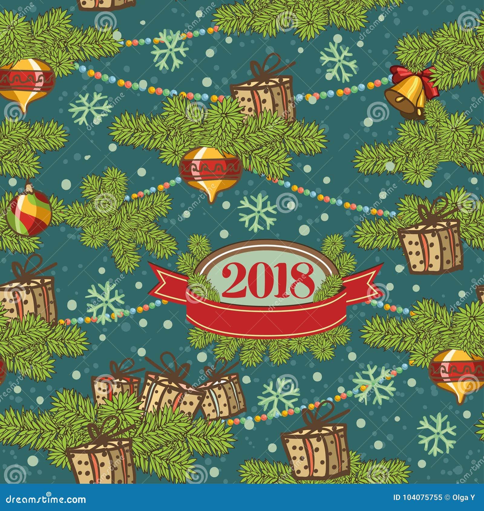 Projekta bezszwowy deseniowy Wesoło kartki bożonarodzeniowa dekoracja Szczęśliwi nowego roku projekta elementy Rocznika tło ogień