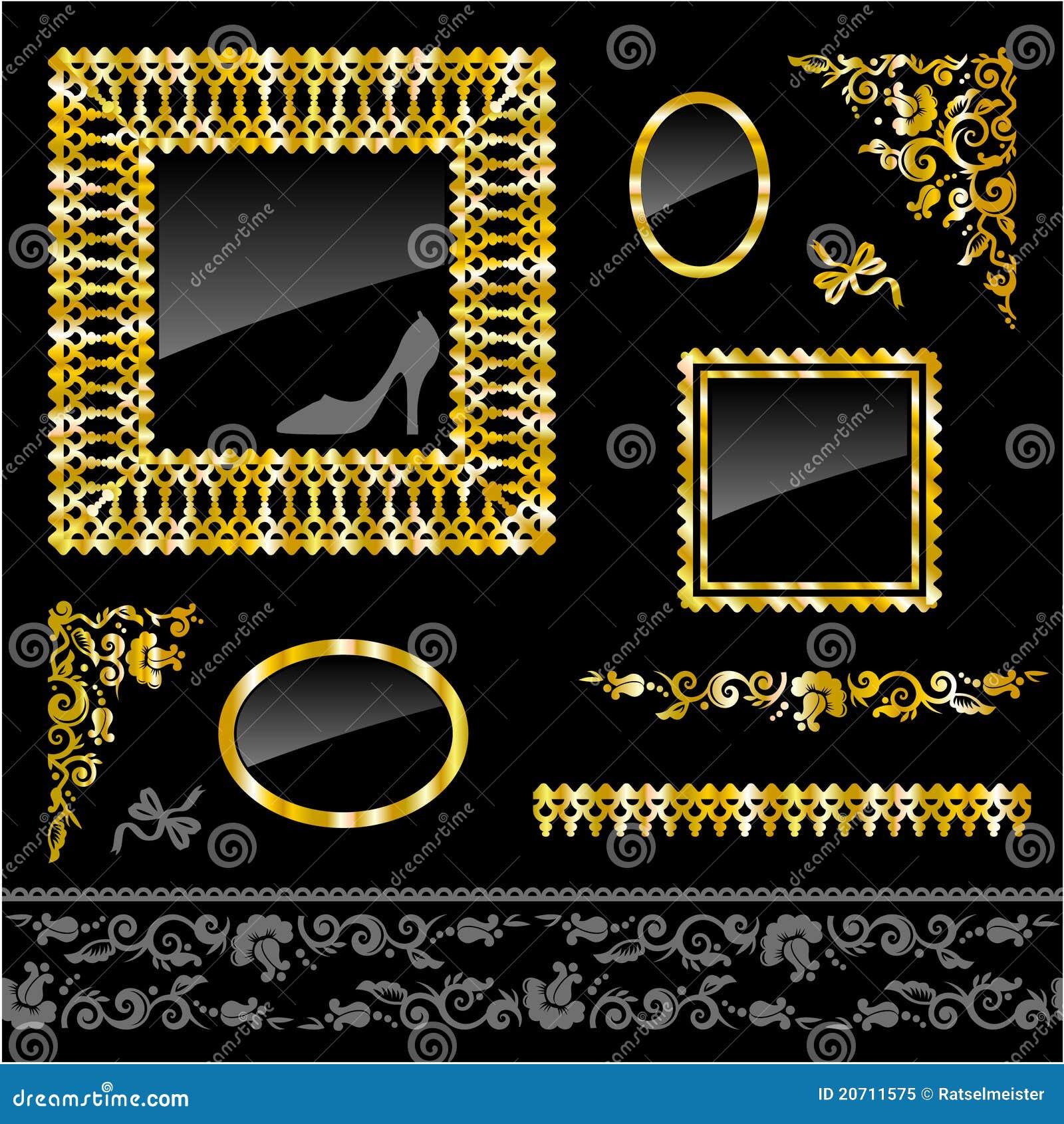 Projekta elementów ram złoty set