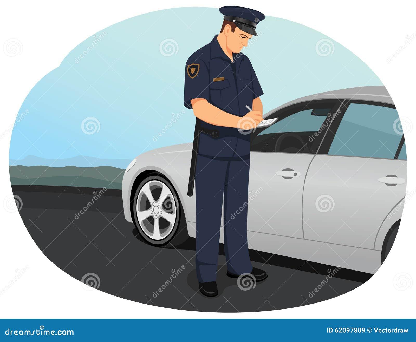 Projekta ilustracyjna oficera policja ty