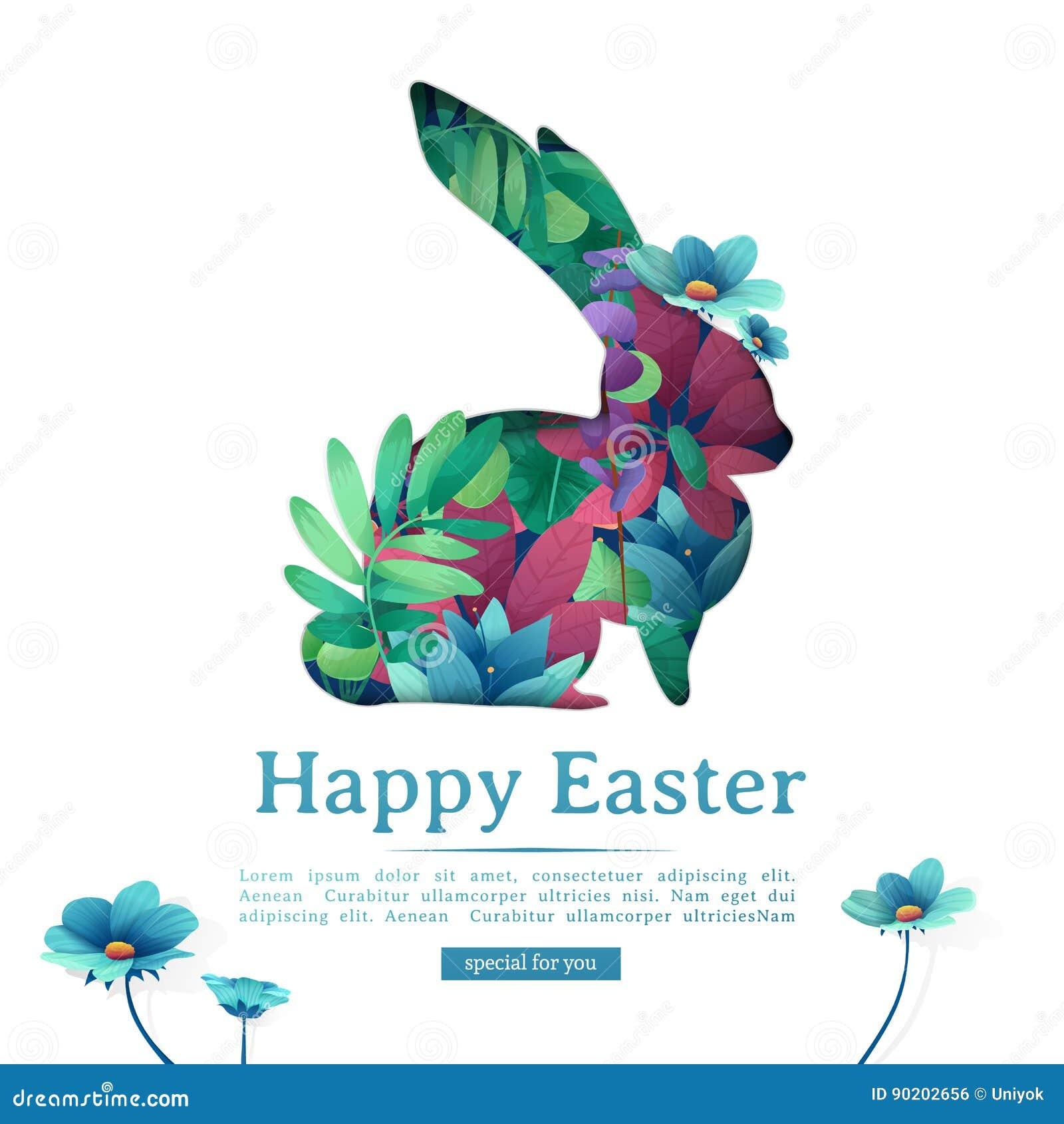 Projekta szablonu sztandar dla Szczęśliwej wielkanocy Sylwetki królik z kwiecistym, zielarskie, rośliny dekoracja Kwadratowa kart
