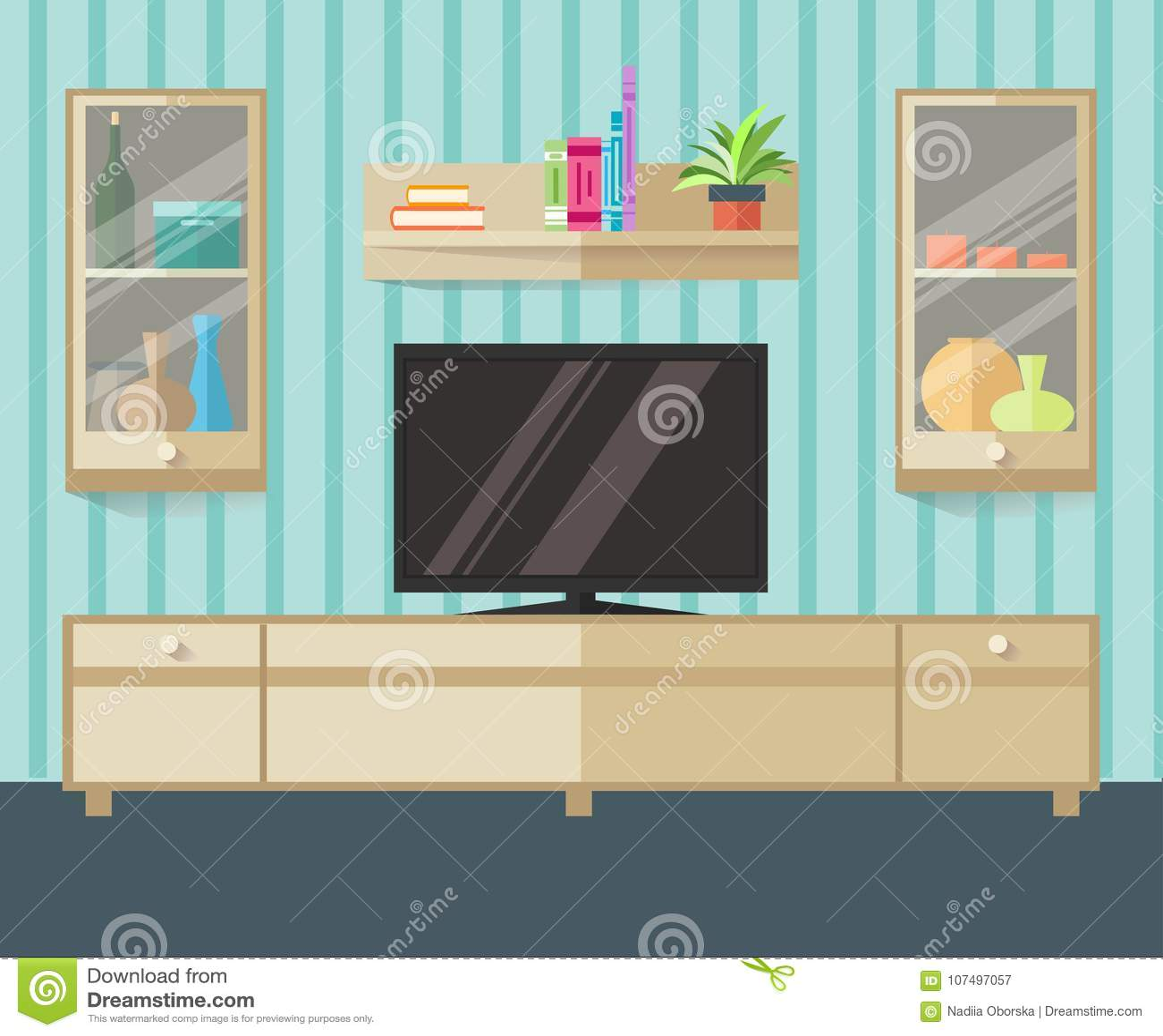 Projekta TV strefa w płaskim stylu Wewnętrzny żywy pokój z meble, tv i półką, również zwrócić corel ilustracji wektora
