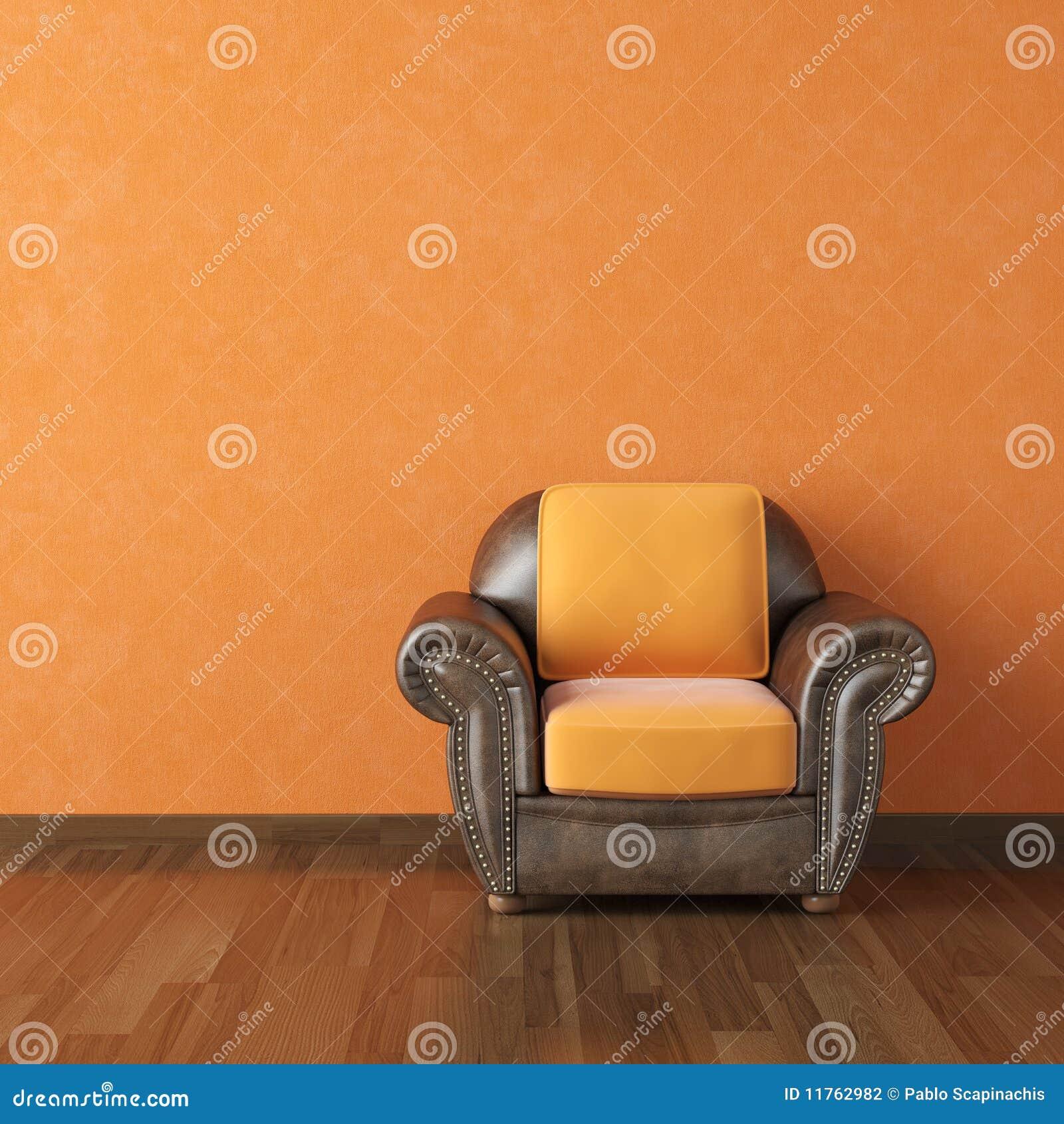 Projekta wewnętrzna pomarańcze ściana