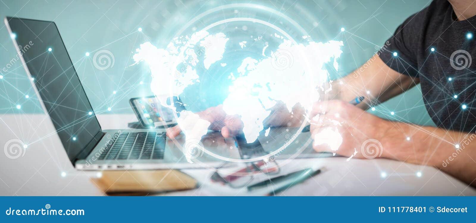 Projektant grafik komputerowych używa cyfrowego światowej mapy interfejsu 3D rendering