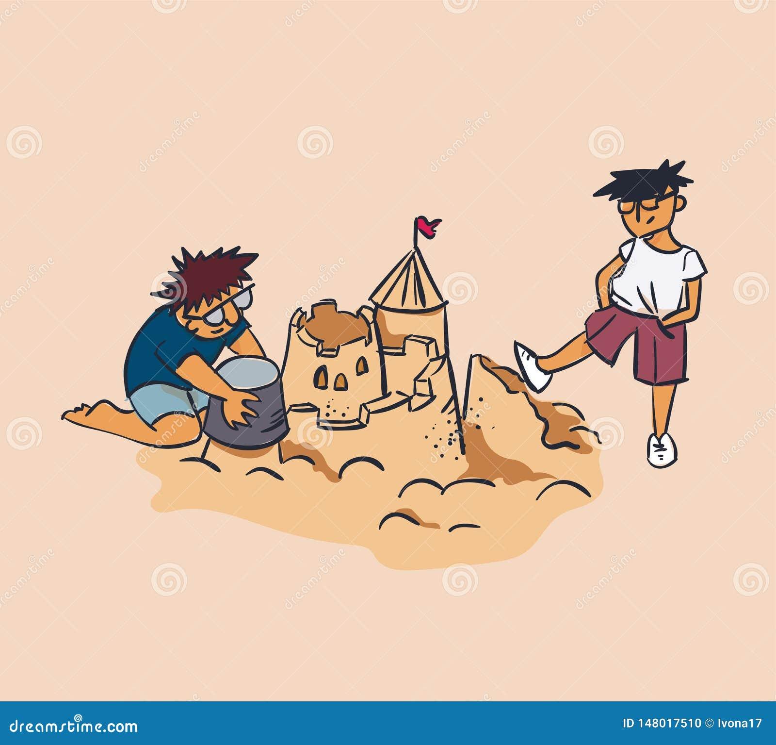 Projektanta i testeru pojęcia piaska wektorowy ilustracyjny kasztel miażdży, zazdrości, krytyki pojęcie