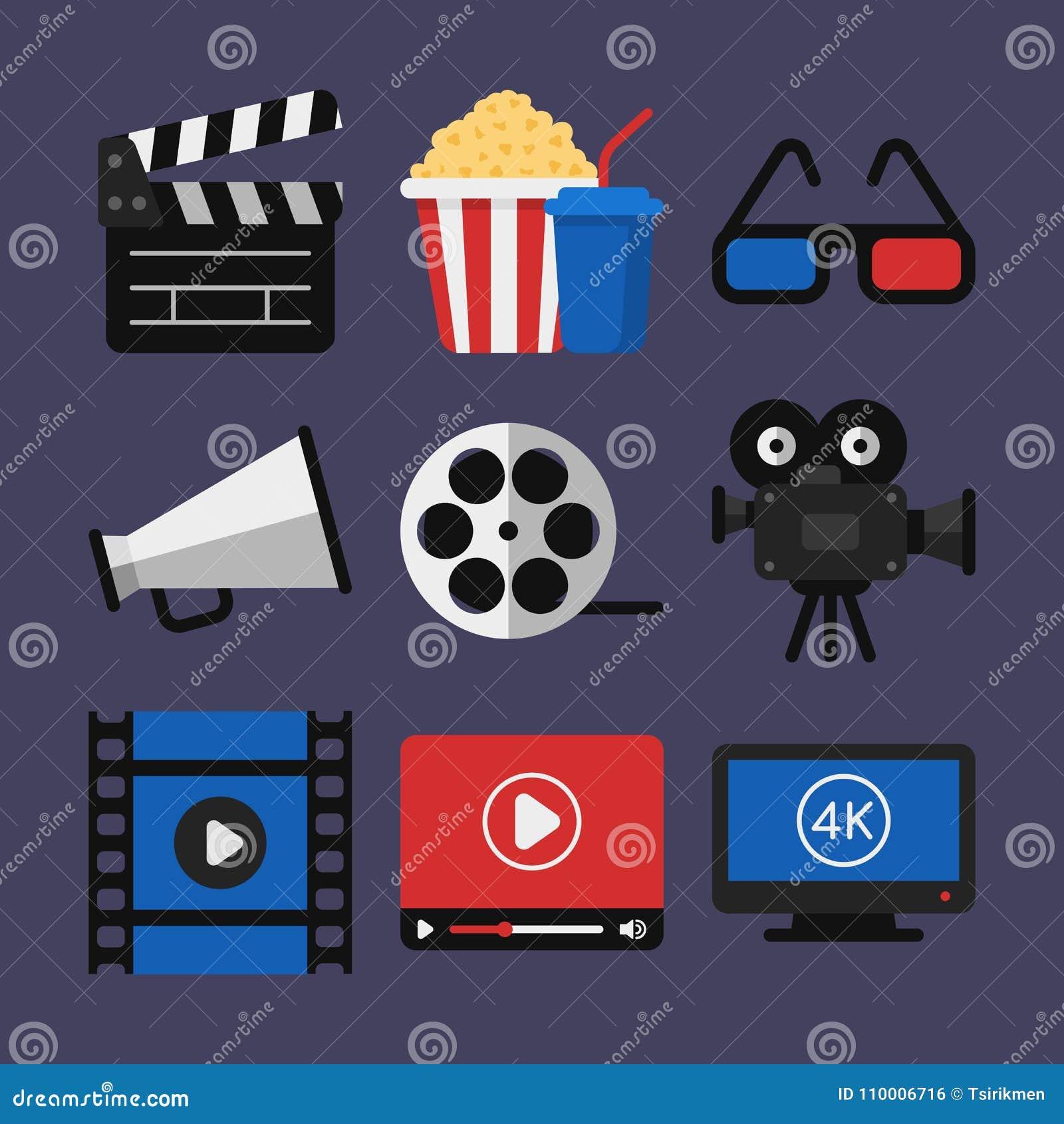 Projektor för film för exponeringsglas för symbolsbioClapperboard popcorn 3d Vide