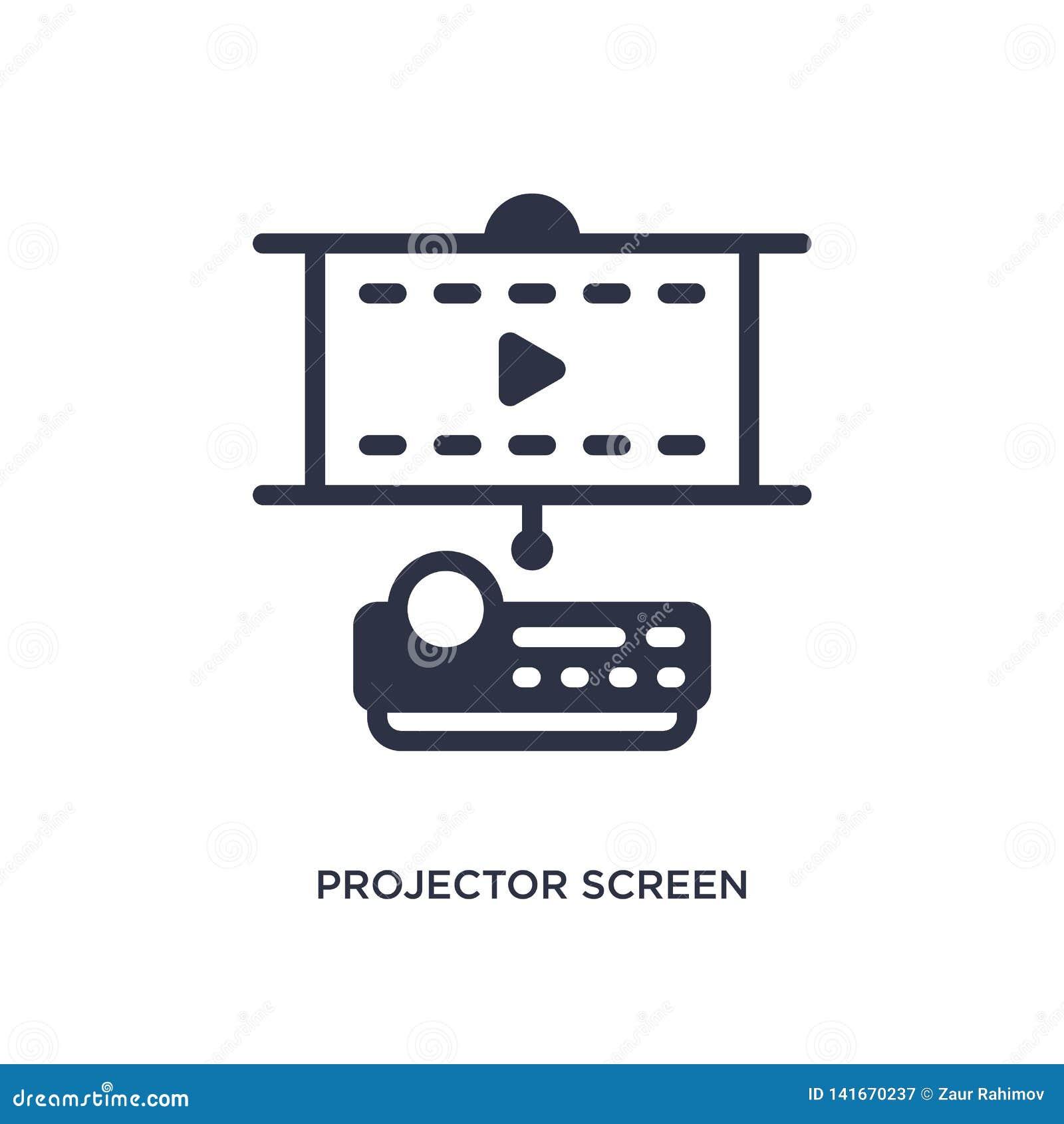 Projektor parawanowa ikona na białym tle Prosta element ilustracja od Kinowego pojęcia