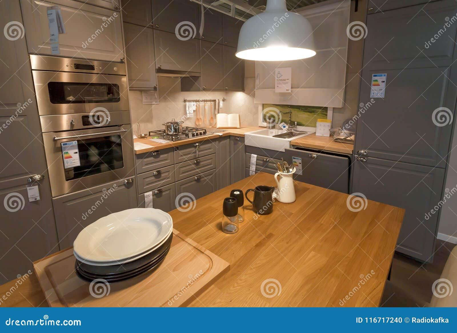 Projektująca Nowożytna Kuchnia Z Piekarnikiem I Fridge W