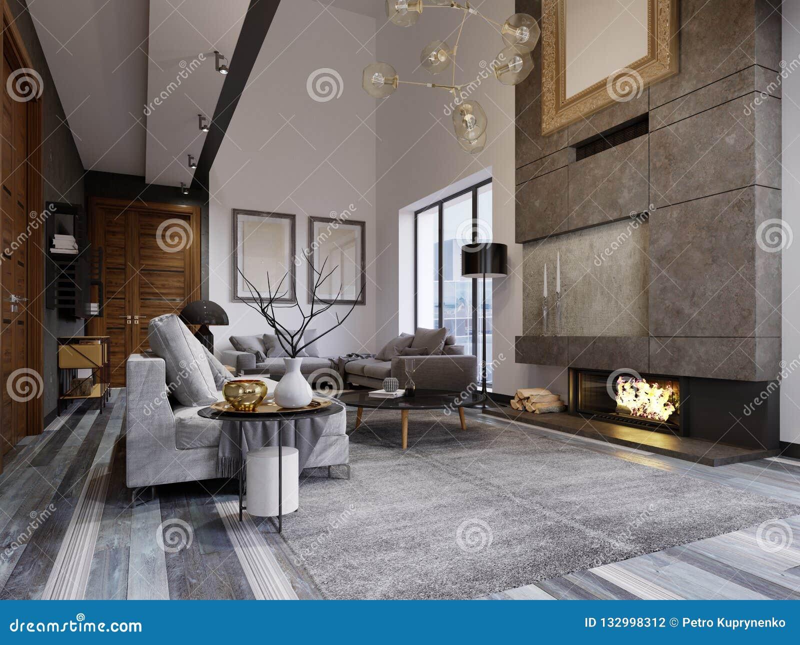 Projektuje mieszkanie w stylu loft z drugi poziomem TV teren z leżanką i kanapą
