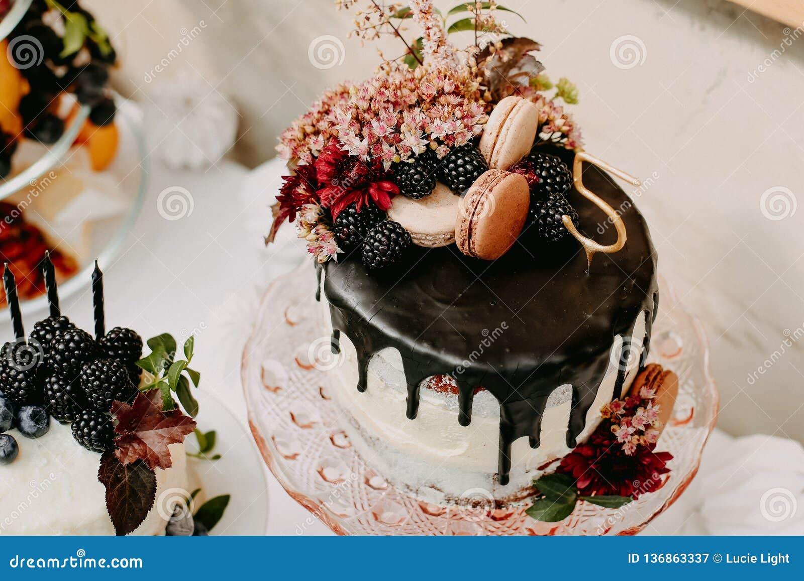 Projektuje przyjęcia urodzinowego plenerowego z baloons i kapie czekoladowego tort