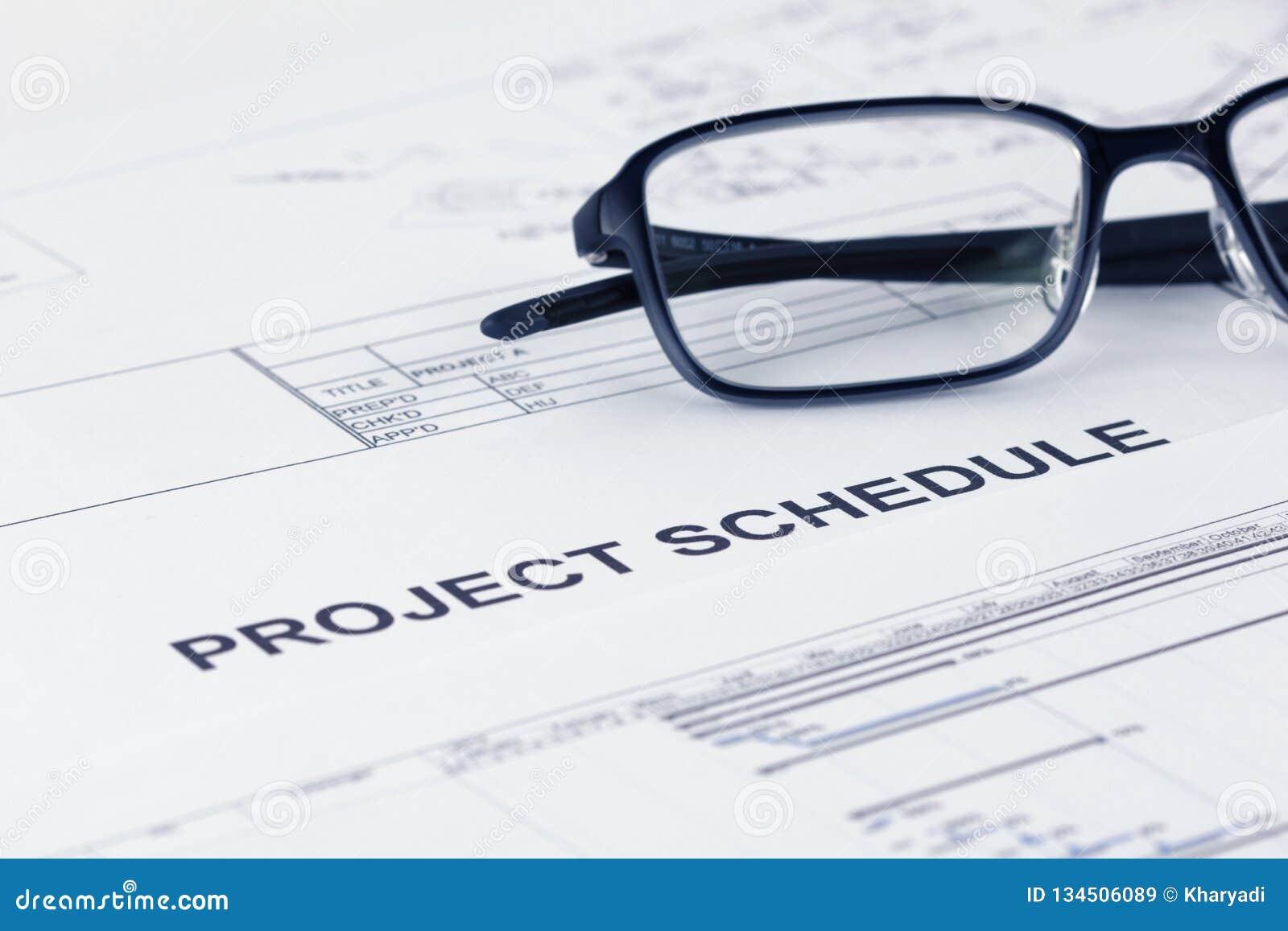 Projektzeitplan-Dokumententitel mit Projektdokumentation