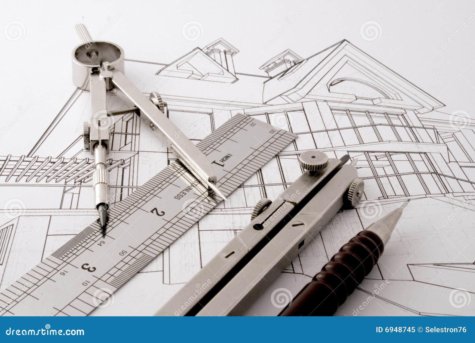 Projet la maison d 39 architecture photo libre de droits for Projet d architecture