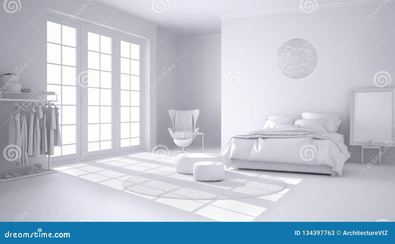 Charmant Projet Blanc Total De Chambre à Coucher Moderne Confortable Avec Le  Plancher De Parquet En Bois
