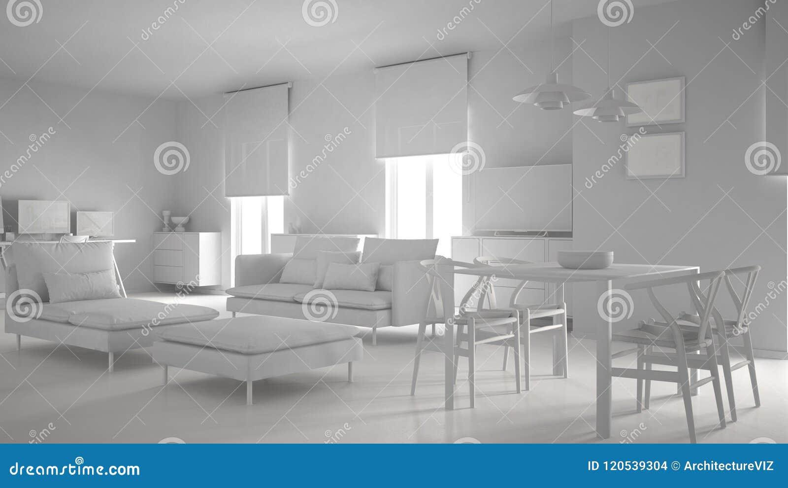 Projet Blanc Total De L\'espace Ouvert Contemporain Moderne De Salon ...