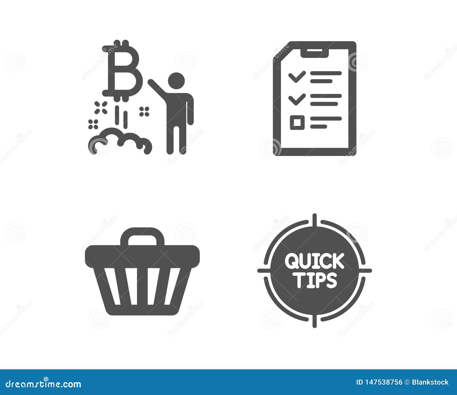 Projet de Bitcoin, ic?nes de chariot d entrevue et de magasin Signe d astuces D?marrage de Cryptocurrency, dossier de liste de co