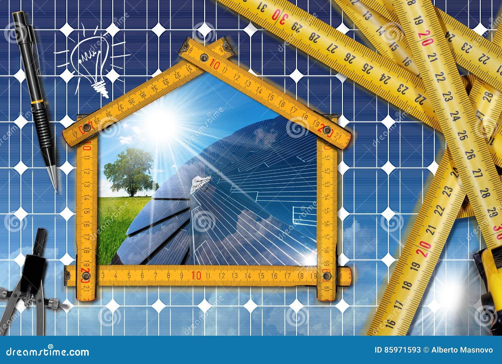 Projet de chambre écologique avec le panneau solaire image stock