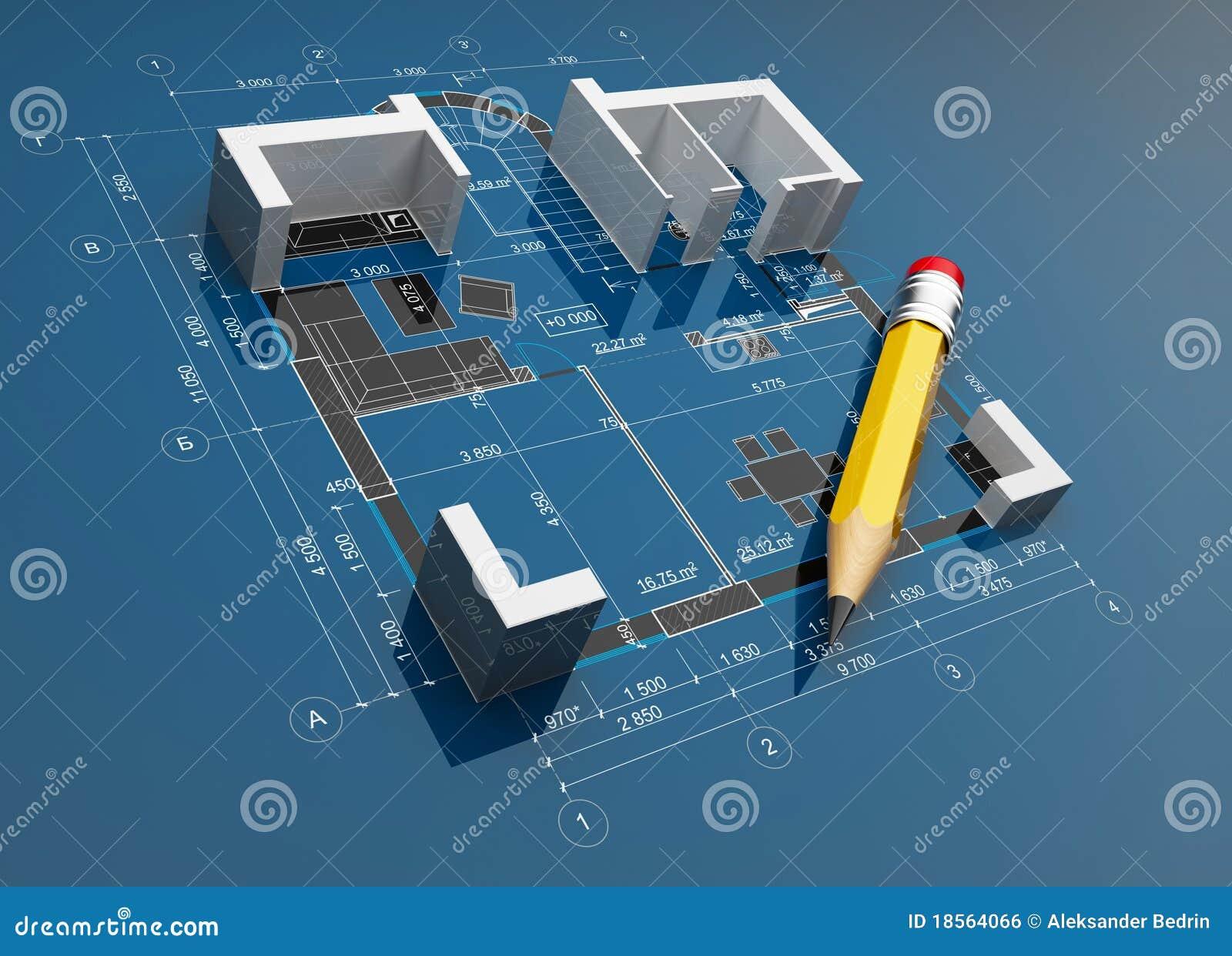 Projet de construction illustration 3d image libre de for Projet construction