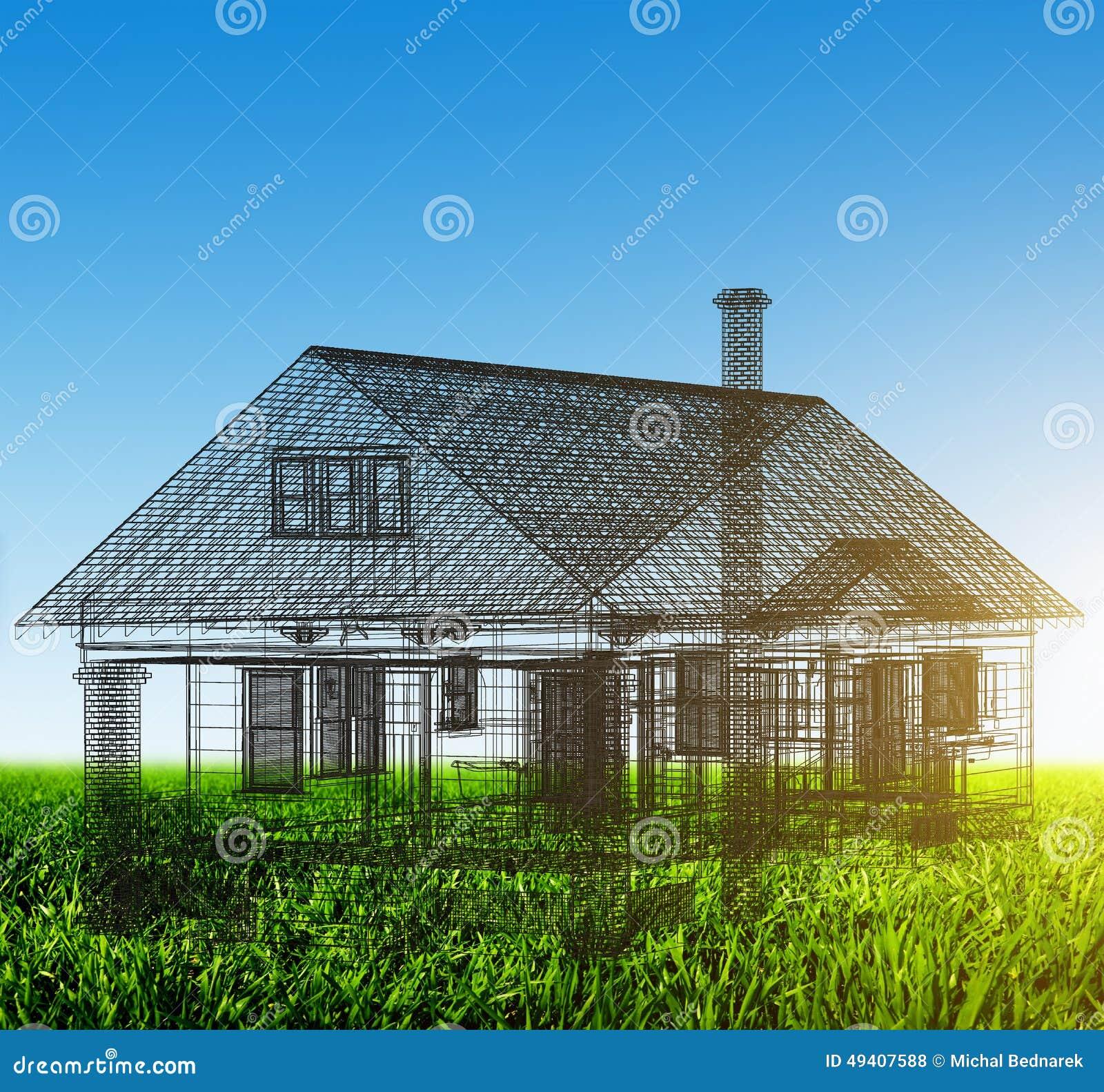 Projet de wireframe de nouvelle maison sur le champ vert for Achat nouvelle maison