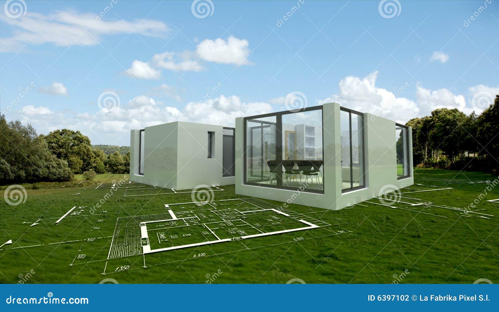 Projet moderne d 39 architecture dans la campagne for Architecture projet