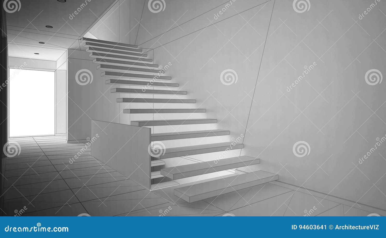projet non fini de hall d'entr�e moderne avec l'escalier en