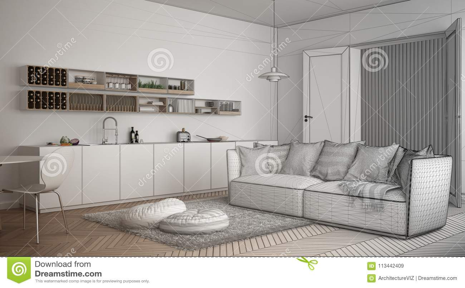 Projet Non Fini De Salon Moderne Scandinave Avec La Cuisine ...