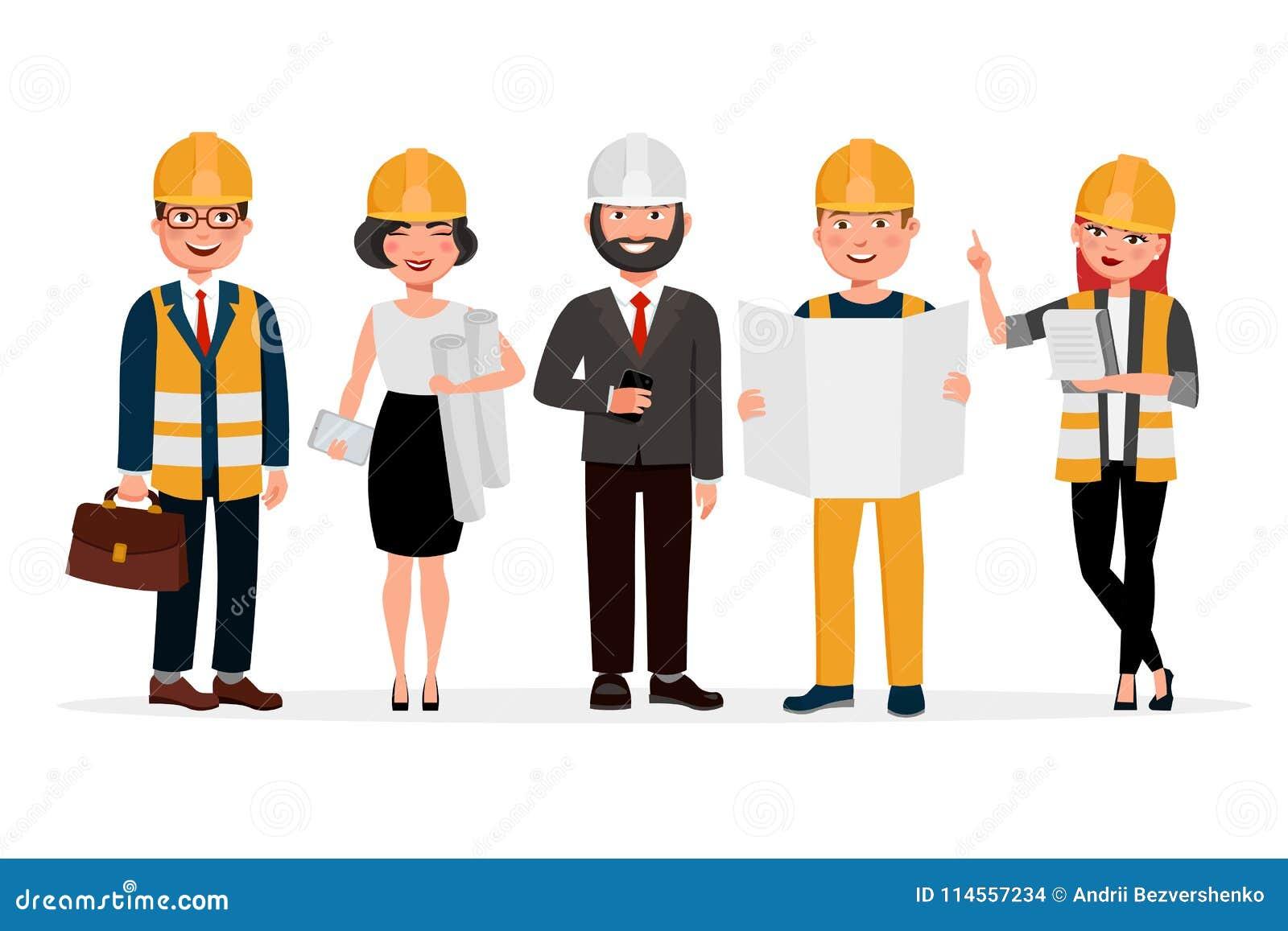 Projeta os personagens de banda desenhada isolados no fundo branco Grupo de técnicos, de construtores, de mecânicos e de povos do