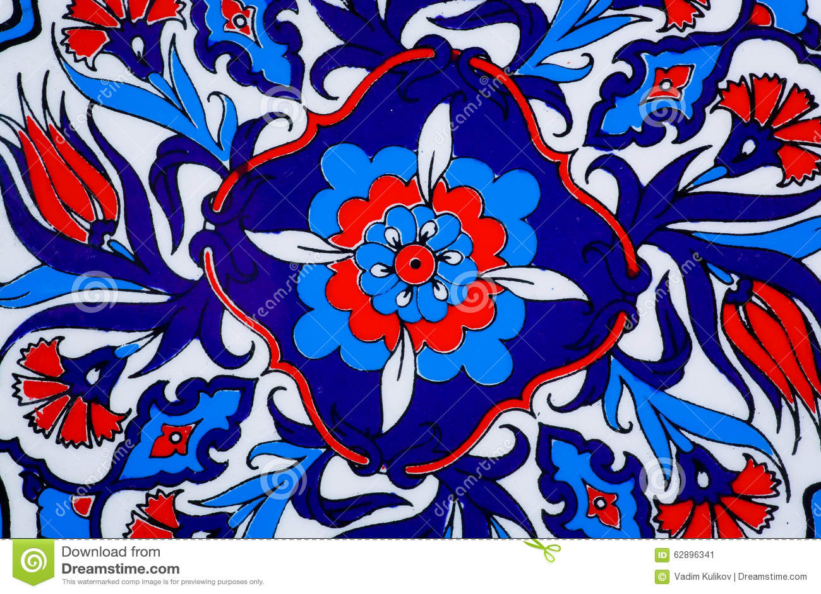 Projete com as flores no potenciômetro cerâmico em um estilo de telhas históricas turcas Textura modelada de Médio Oriente