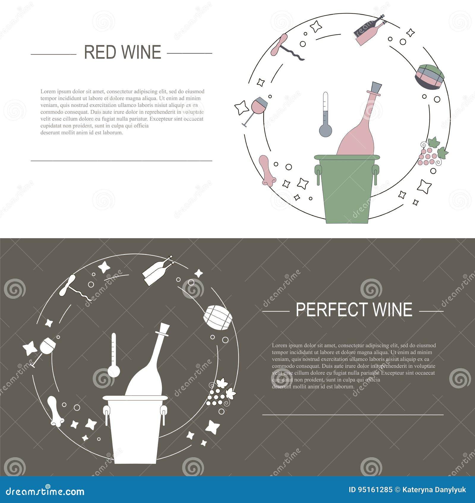 Projete elementos do conceito do vinho, ilustração conservada em estoque do vetor Vector flayers e bandeiras no estilo liso moder