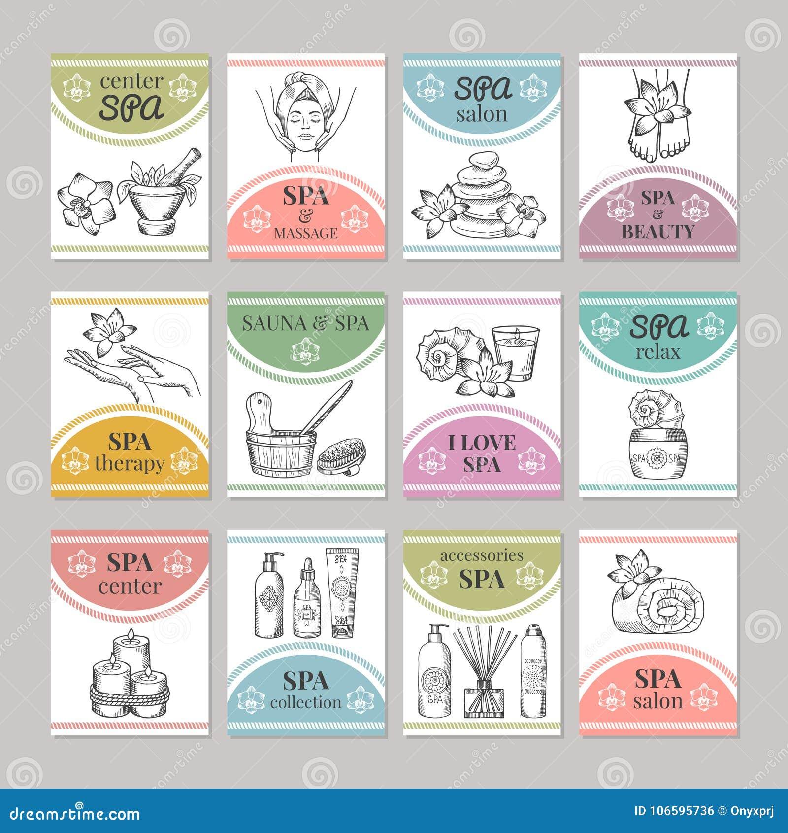 Projete o molde de cartões diferentes para o salão de beleza dos termas ou o centro do cosmético