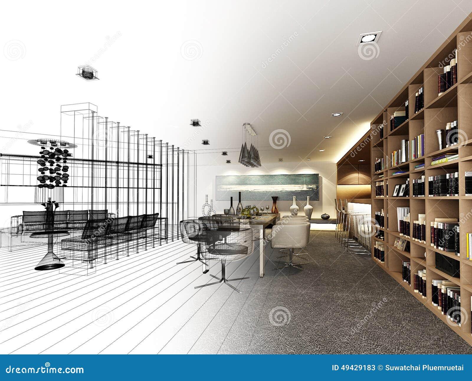 Projeto abstrato do esboço do jantar interior