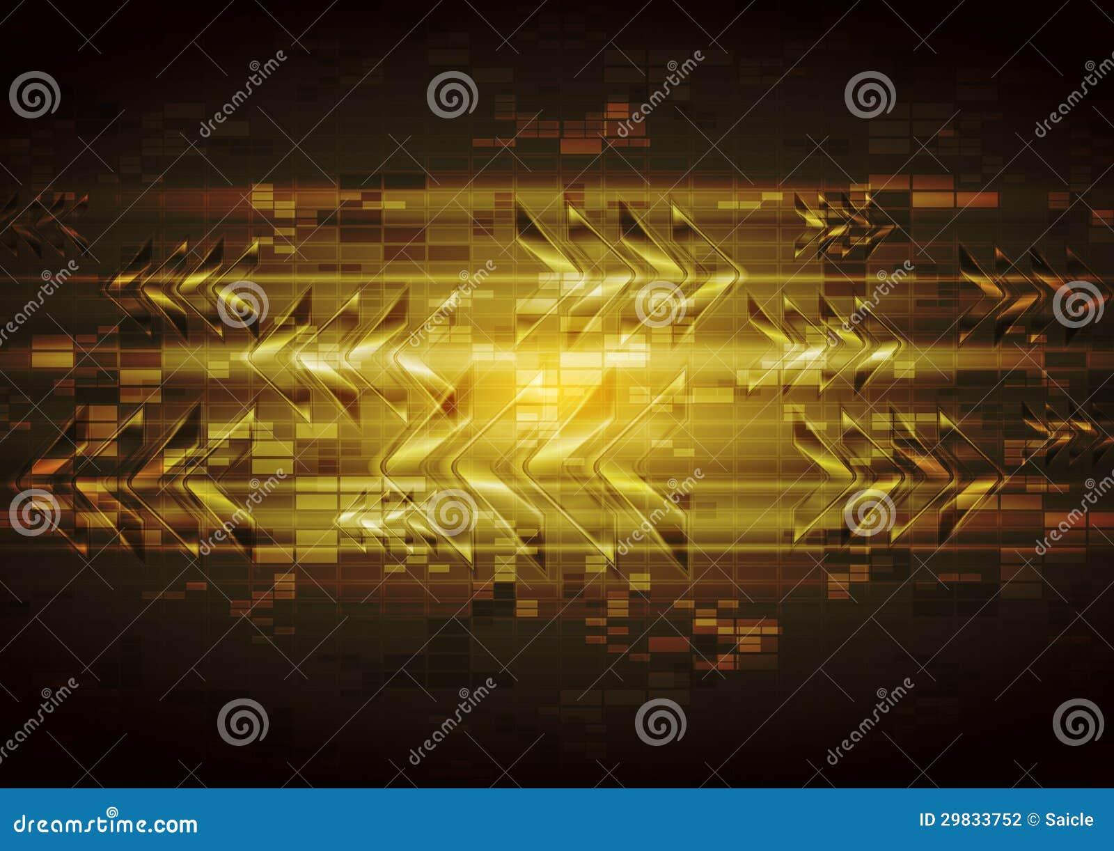 Projeto amarelo da tecnologia do vetor com as setas lustrosas abstratas