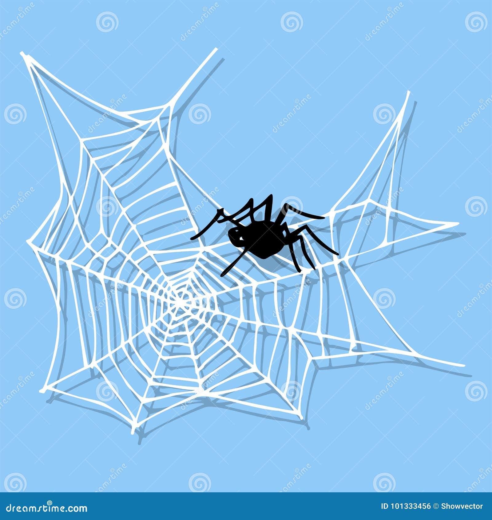 Projeto animal assustador liso gráfico do medo do aracnídeo da silhueta da Web de aranha