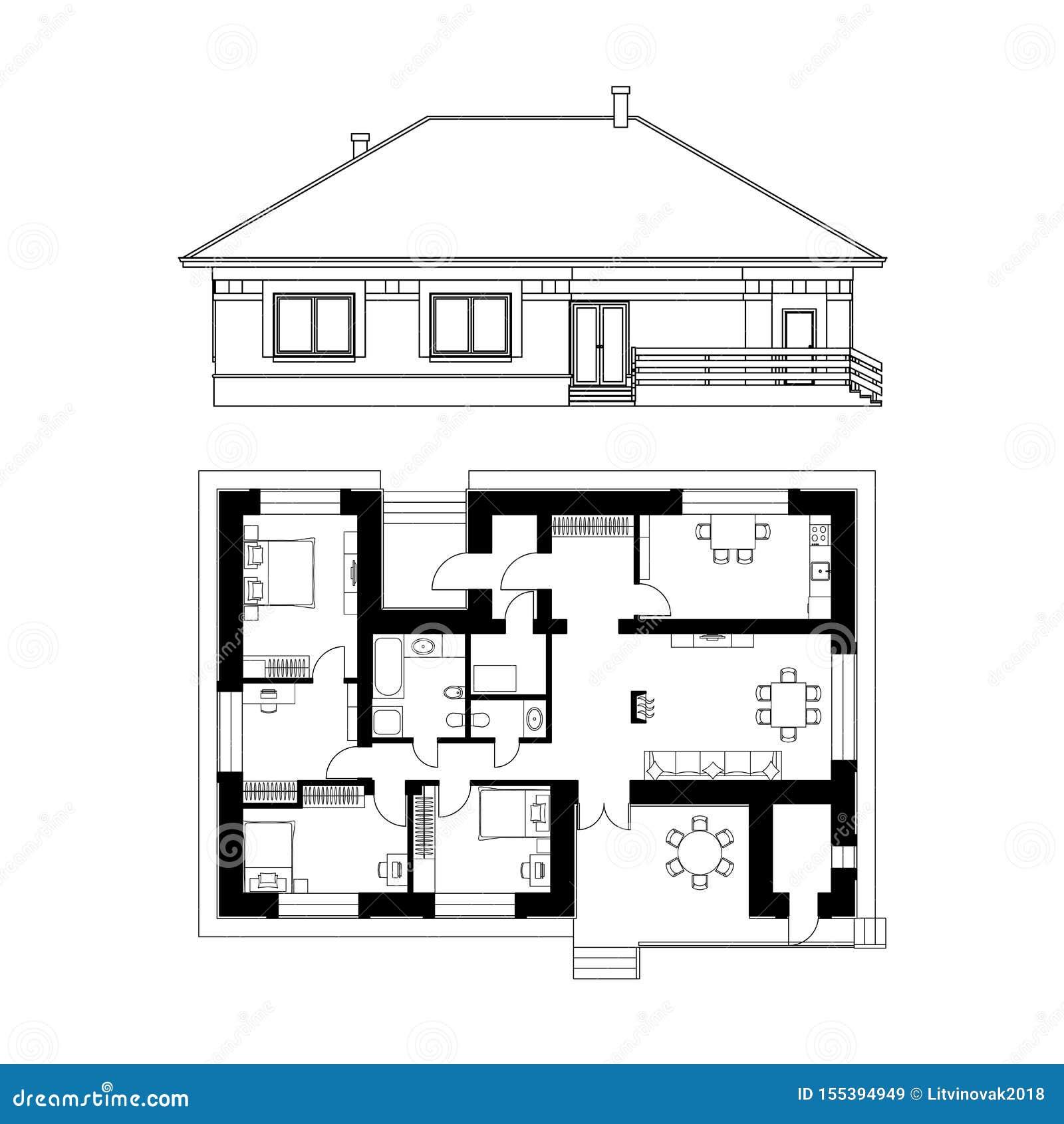 Projeto arquitetónico de uma casa Tiragem da fachada e da planta baixa da casa de campo ilustra??o real?stica do vetor