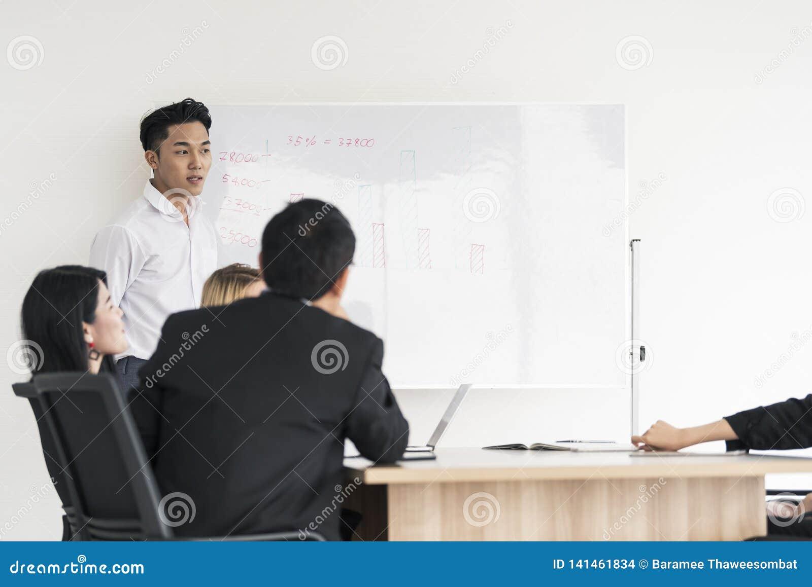 Projeto atual da placa do homem de negócios asiático novo aos colegas diversos interessados em negociações do escritório